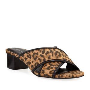 Donald Pliner Mally Leopard Cork CrissCross Slides